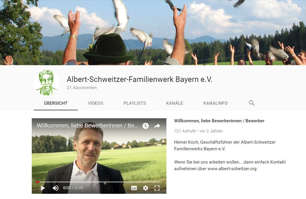 YouTube Kanal - Albert Schweitzer Familienwerk Bayern e.V.